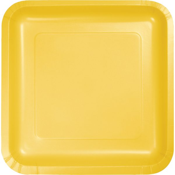 """School Bus Yellow Paper Lunch Plates 9"""" Square 180 Ct"""