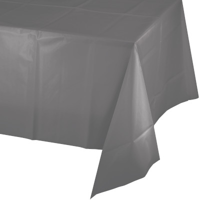 """Glamour Gray Plastic Rectangular Tablecover 54"""" X 108"""" 12 Ct"""