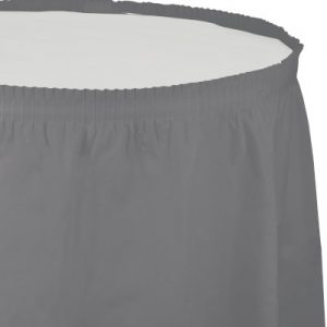 """Glamour Gray Plastic Tableskirts, 14' X 29"""" 6 Ct"""
