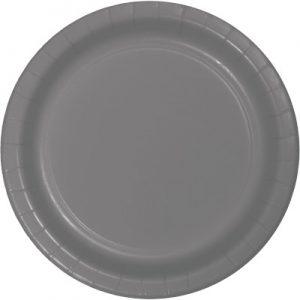 "Glamour Gray Paper Dessert Plates 7"" 240 Ct"