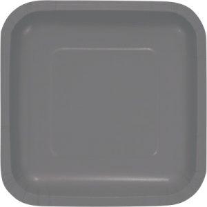 "Glamour Gray Paper Dessert Plates 7"" Square 180 Ct"