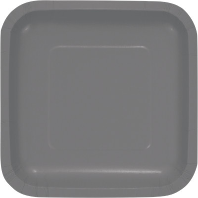 """Glamour Gray Paper Lunch Plates 9"""" Square 180 Ct"""