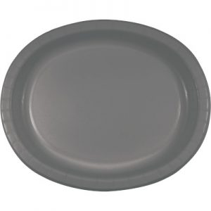 """Glamour Gray Paper Oval Platter 10"""" X 12"""" 96 Ct"""