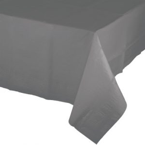"""Glamour Gray Paper Tablecovers, Poly-Lined 54"""" X 108"""" 6 Ct"""