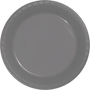 "Glamour Gray Plastic Dessert Plates 7"" 240 Ct"