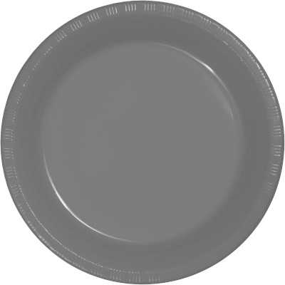 "Glamour Gray Plastic Dinner Plates 10.25"" 240 Ct"
