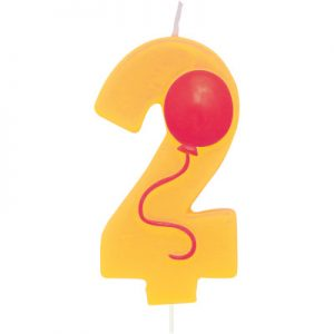 Balloon Numeral 2 Candle 6 Ct