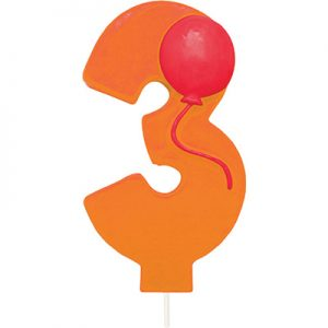 Balloon Numeral 3 Candle 6 Ct