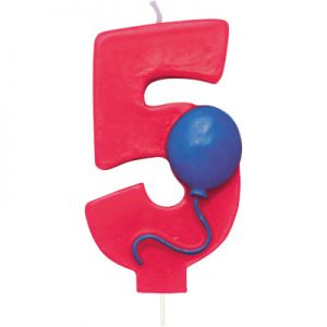 Balloon Numeral 5 Candle 6 Ct