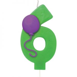 Balloon Numeral 6 Candle 6 Ct