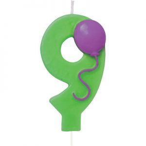 Balloon Numeral 9 Candle 6 Ct