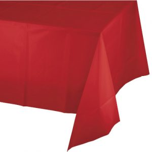 "Classic Red Plastic Rectangular Tablecover 54"" X 108"" 12 Ct"