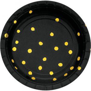 """Black Velvet Paper Dessert Plates, Foil 7"""" 96 Ct"""