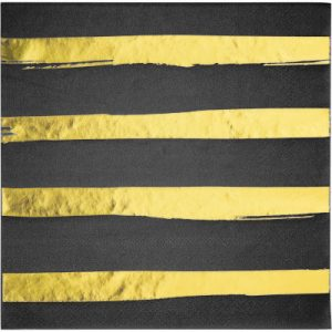 Black Velvet Lunch Napkins 3Ply, Foil Stamp 192 Ct