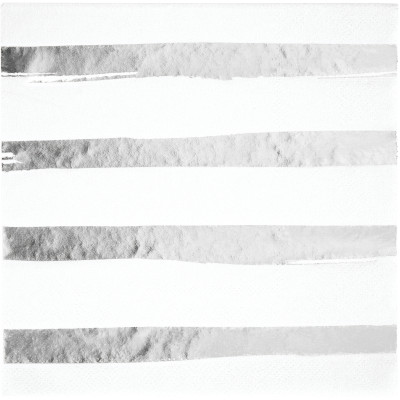 White & Silver Foil Lunch Napkins 3Ply, Foil Stamp Silver 192 Ct