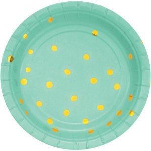 """Fresh Mint Foil Paper Dessert Plates, Foil 7"""" 96 Ct"""