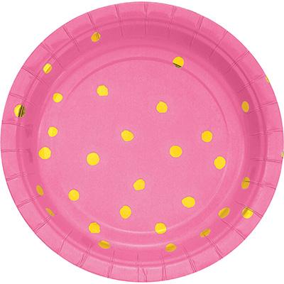 "Candy Pink Foil Paper Dessert Plates, Foil 7"" 96 Ct"