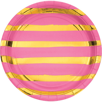 """Candy Pink Foil Paper Lunch Plates, Foil 9"""" 96 Ct"""