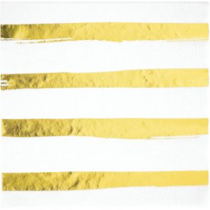White & Gold Foil Lunch Napkins 3Ply, Foil Stamp Gold 192 Ct