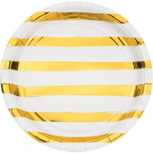 "White & Gold Foil Paper Lunch Plates 9"", Gold Foil 96 Ct"