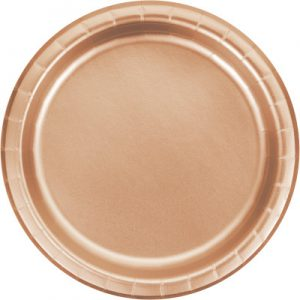 "Rose Gold Foil Paper Lunch Plates 9"", Rose Gold Foil 96 Ct"