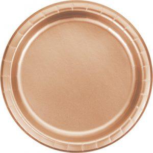 """Rose Gold Foil Paper Dessert Plates 7"""", Rose Gold Foil 96 Ct"""