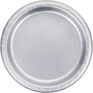 """Silver Foil Paper Dessert Plates 7"""", Silver Foil 96 Ct"""