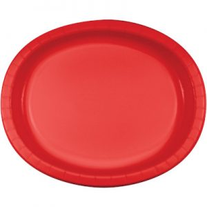 "Classic Red Paper Oval Platter 10"" X 12"" 96 Ct"