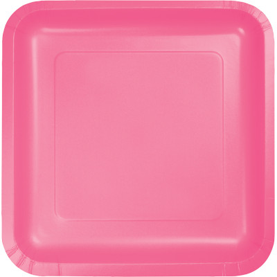 """Candy Pink Paper Lunch Plates 9"""" Square 180 Ct"""