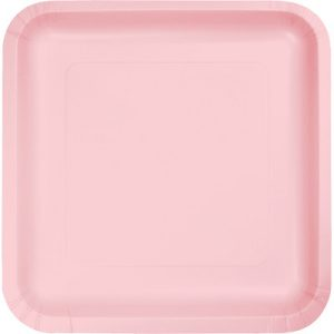 """Classic Pink Paper Lunch Plates 9"""" Square 180 Ct"""