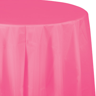 """Candy Pink Plastic Tablecovers, Octy Round 82"""" 12 Ct"""