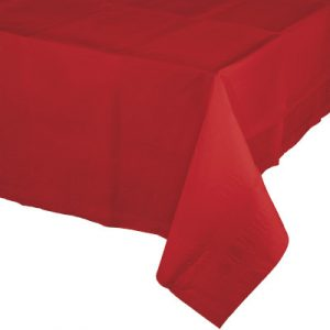 "Classic Red Paper Tablecovers, Poly-Lined 54"" X 108"" 24 Ct"