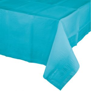 "Bermuda Blue Paper Tablecovers, Poly-Lined 54"" X 108"" 6 Ct"