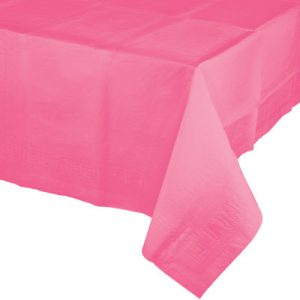 "Candy Pink Paper Tablecovers, Poly-Lined 54"" X 108"" 6 Ct"
