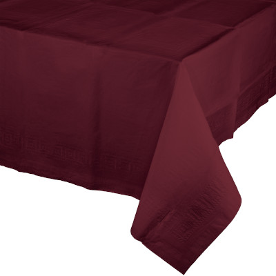 """Burgundy Paper Tablecovers, Poly-Lined 54"""" X 108"""" 6 Ct"""