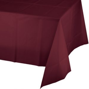 "Burgundy Plastic Rectangular Tablecovers 54"" X 108"" 12 Ct"
