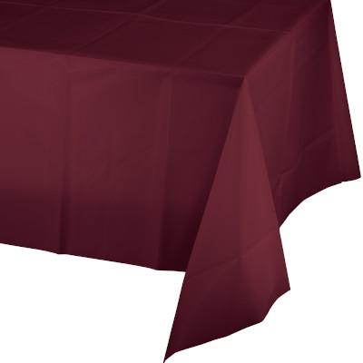 "Burgundy Plastic Rectangular Tablecovers 54"" X 108"" 12 Ct"