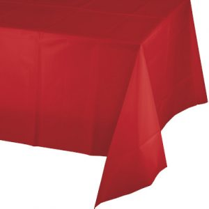 """Classic Red Paper Tablecovers, Poly-Lined Octy Round 82"""" 12 Ct"""