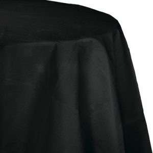 """Black Velvet Paper Tablecovers, Poly-Lined Octy Round 82"""" 12 Ct"""