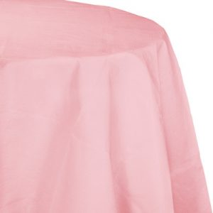 """Classic Pink Paper Tablecovers, Poly-Lined Octy Round 82"""" 12 Ct"""