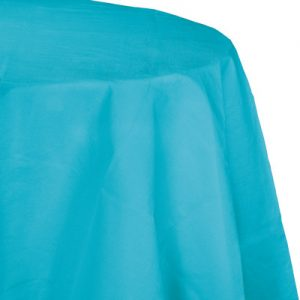 "Bermuda Blue Paper Tablecovers, Poly-Lined Octy Round 82"" 12 Ct"