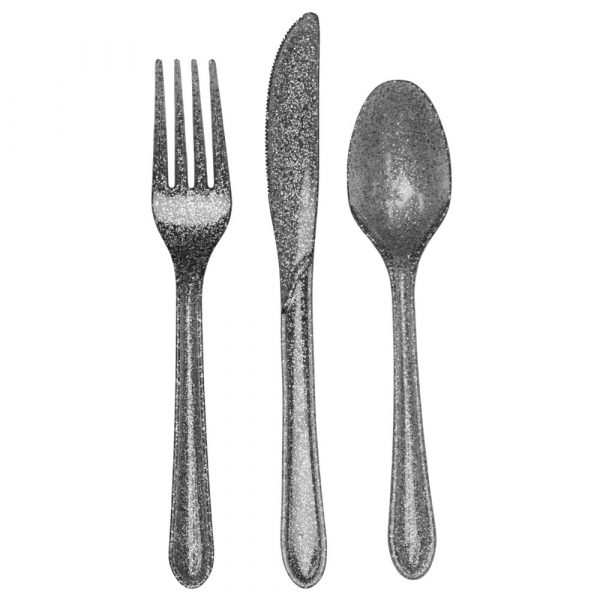 Silver Glitter Assorted Cutlery 288ct