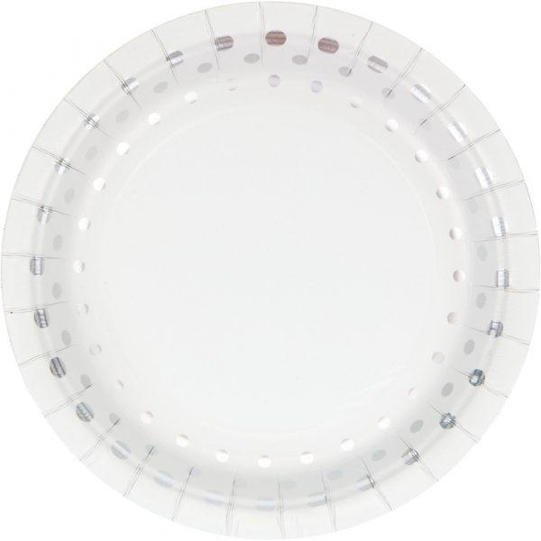"Sparkle and Shine Silver 7"" Dessert Plates 96ct"