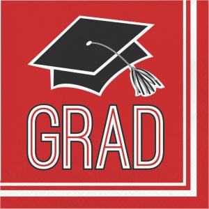 red graduation lunch napkins
