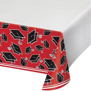 red graduation table cover