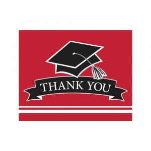 red graduation thank you cards