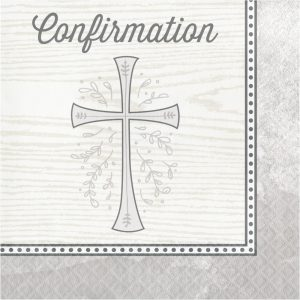 Divinity Silver Confirmation Lunch Napkins 192ct