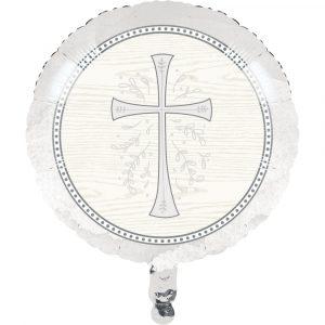 religious metallic balloon silver