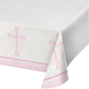 pink religious tablecover