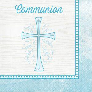 blue communion napkins